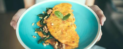 Omelettes filled with mushrooms and crescenza cheese, a rich source of vitamin D