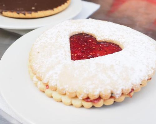 Big cookies with jam and chocolate, for yummy snacks
