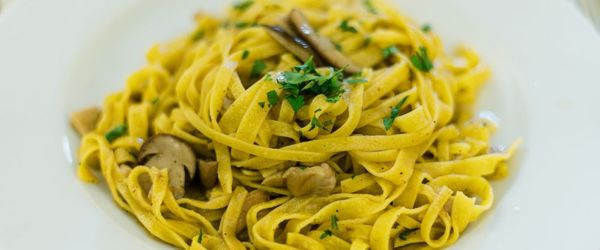 Pasta with king oyster mushrooms