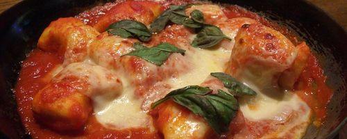 Italian Gnocchi alla sorrentina, or baked gnocchi with tomato and mozzarella