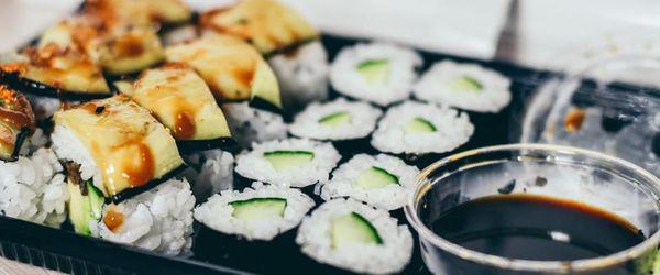 Vegetarian sushi, surprising nigiri with pickled ginger