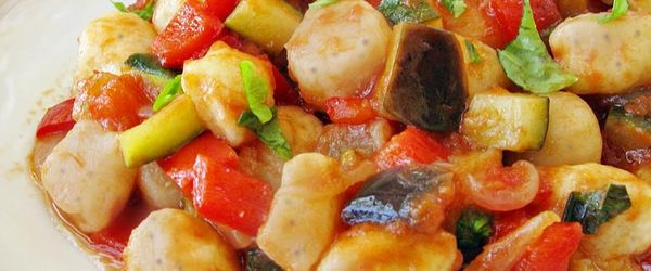 Buckwheat gnocchi with sauce of vegetables