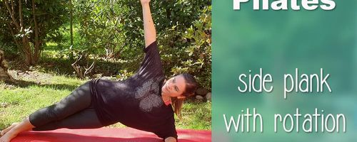Side plank with rotation, the pilates exercise for arms, shoulders and abs