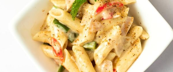 Creamy whole grain spelt pasta