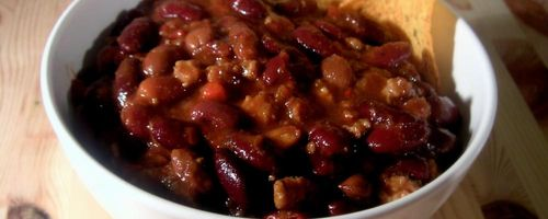 Chili with red beans and basmati rice