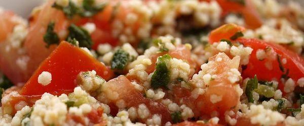 Saffron couscous with Sicilian caponata