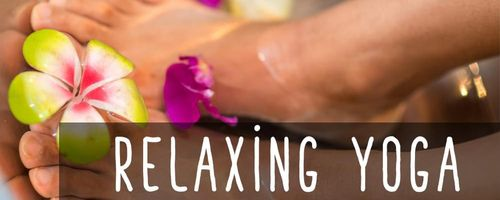 Relaxing yoga, foot massage