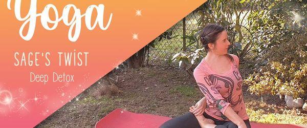 Sage's twist yoga pose, or Bharadwajasana, deep detox and against sciatica